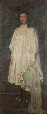 Emanuel Phillips Fox (Australian, 1865-1915) Portrait of Daphne Carr Gamage aged twelve 172.8 x 71.3 cm. (68 x 28 in.)