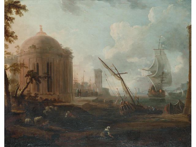 French School, mid 18th Century A Mediterranean harbour with figures on the quay and shipping at anchor beyond; and A Mediterranean harbour 64 x 80.2 cm. (25 1/8 x 31½ in.) (2)