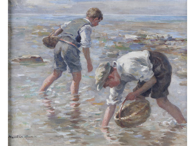 William Marshall Brown RSA RSW (1863-1936) The Crab Pickers 39 x 49cm