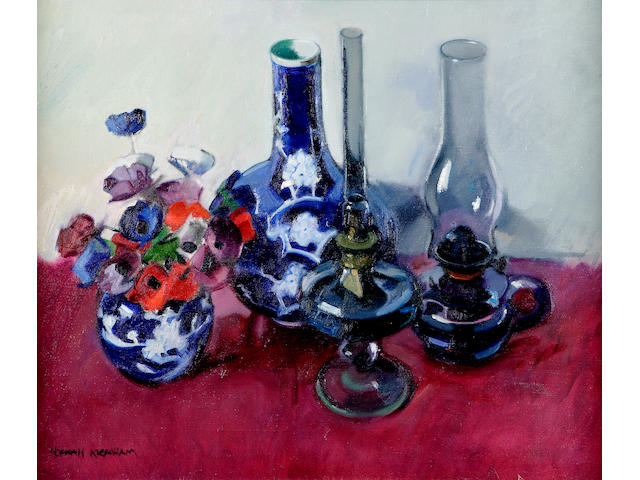 Norman Kirkham (b1936) Still life of poppies and lamp 54 x 67cm