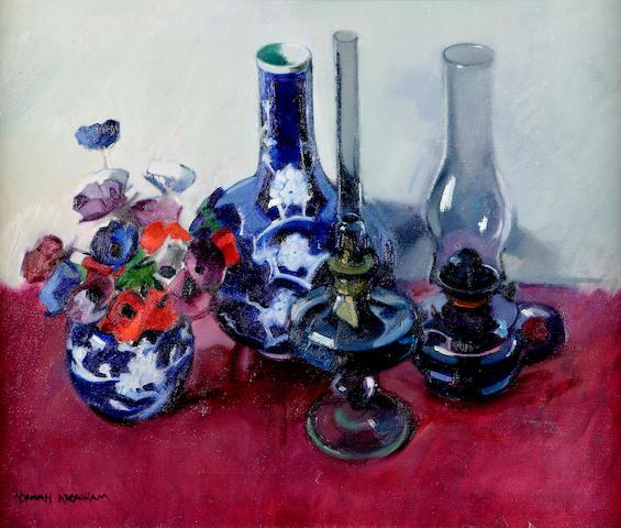 Norman Kirkham (b1936) Still life of poppies and lamp 54 x 67cm