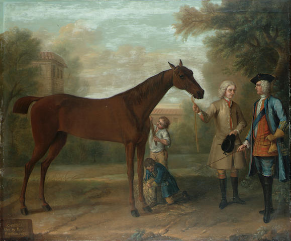 John Wootton (Snitterfield circa 1678-1764 London) Camilla by Bay Bolton rubbed down by two stable boys beside her trainer and owner, Charles, 3rd Duke of Bolton 102 x 122 cm. (40 x 48 in.)