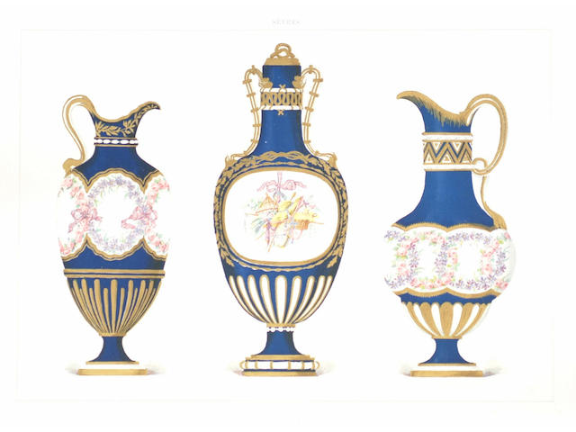 GARNIER (EDOUARD) The Soft Porcelain of Sevres, 50 chromolithographic plates heightened in gold, contemporary half calf, marbled boards, folio, 1892