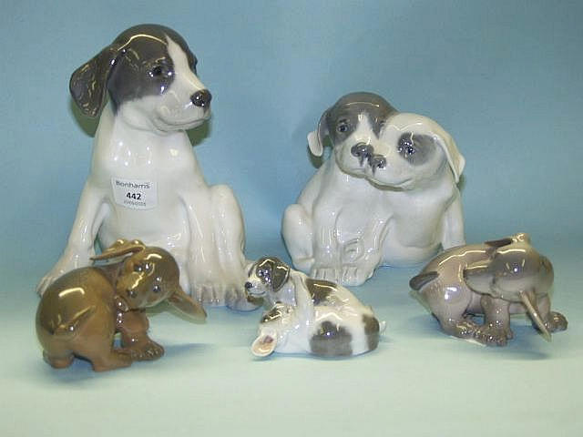 Five Royal Copenhagen models of dogs 20th Century,