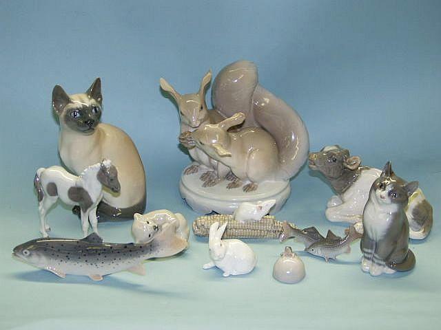 Eleven Copenhagen models of animals and fish 20th Century,