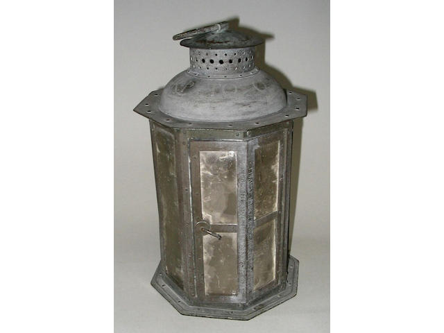 A copper lantern to a design by Ernest Gimson, by Alfred Bucknall, 1917, with a later documentary engraved inscription by Anthony Gardner, 1949