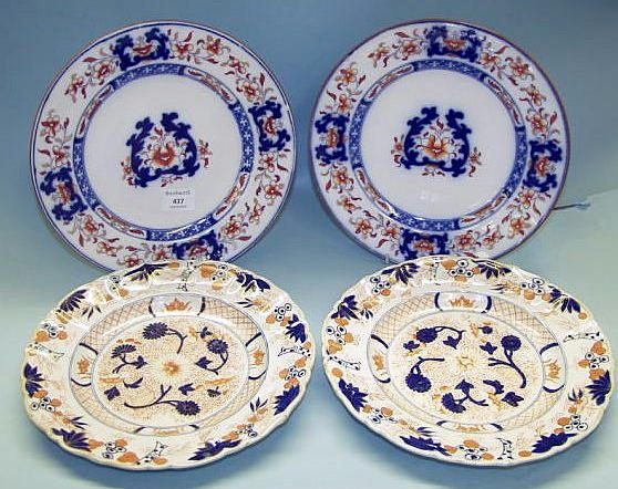 Two pairs of ironstone plates 19th Century,
