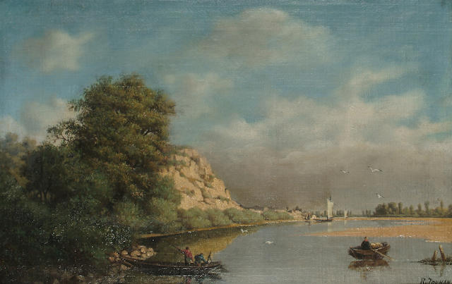 Continental School, 19th Century Boats on a river, 27.2 x 43 cm (10 3/4 x 17 in)