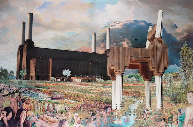 David Mach (b. 1956) Battersea power station - nudists 94 x 147 cm. (37 x 57 7/8 in.) sight size framed