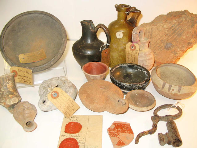 A miscellaneous group of pottery vessels, fragments and other items a lot