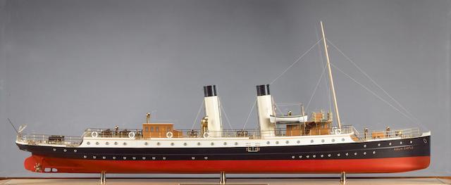 "A Builders' style model of the passenger vessel ""Roslin Castle"" 60x17.5x28in(152x44x71cm)"
