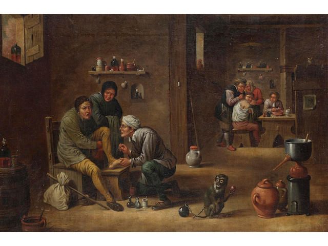 Manner of Mattheus von Helmont  An interior with a village doctor at work 40.5 x 58.5 cm. (16 x 23 i