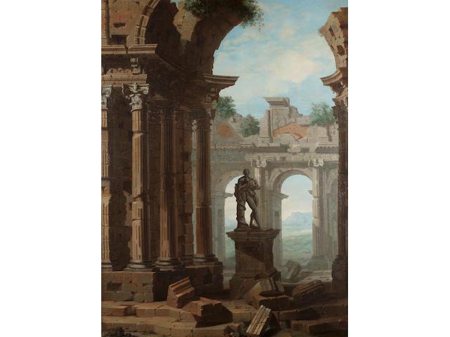 Circle of Giovanni Paolo Panini (Piacenza 1691/2-1765 Rome) A capriccio of classical ruins 124 x 90.8 cm. (48¾ x 35¾ in.)