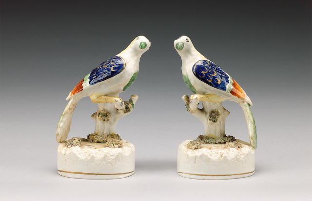 A pair of exotic birds pen holders, mid 19th century,