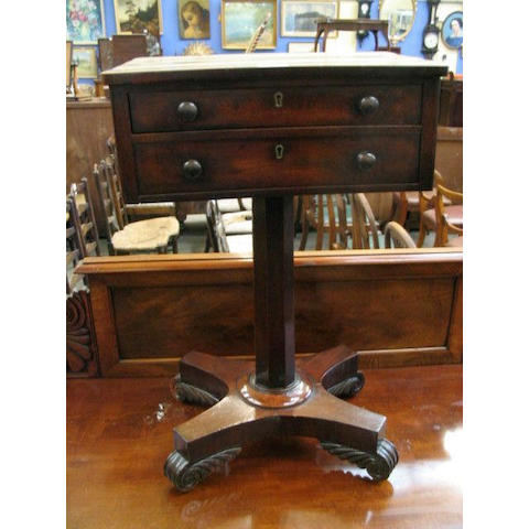 An early Victorian mahogany work table,
