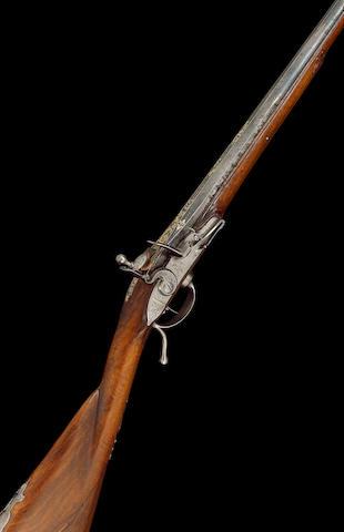 A Fine And Rare 22-Bore French Breech-Loading Flintlock Sporting Gun On The La Chaumette System