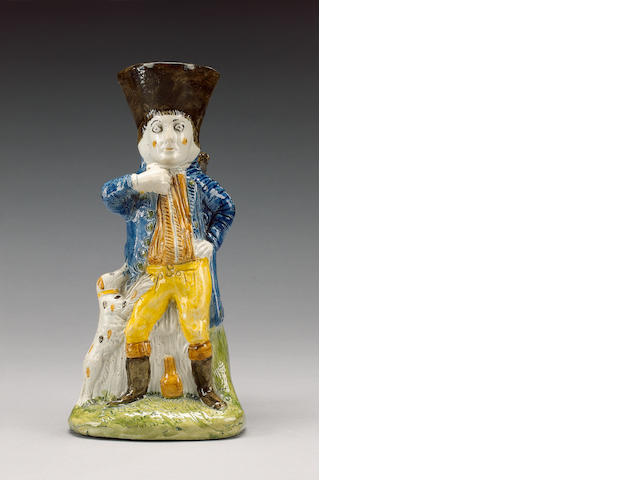 An unrecorded Pratt Ware 'Fair Hebe' type Toby Jug, circa 1790,