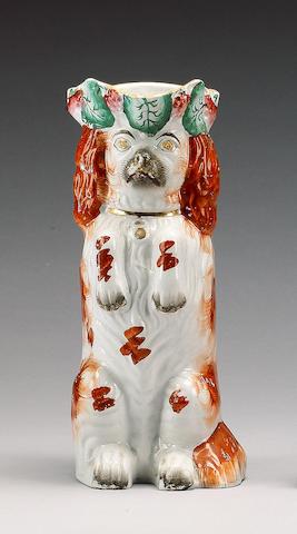 A begging spaniel jug, circa 1860,