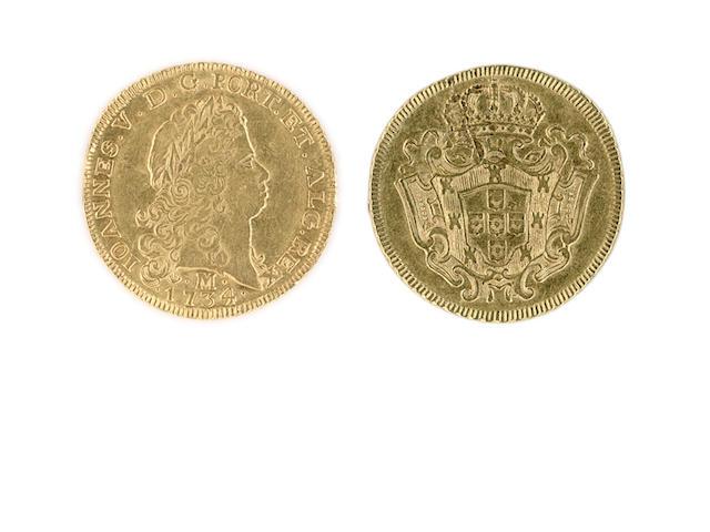 Brazil, 6,400 Reis, 1734.M., Joannes V, Minas Gerais Mint, JOANNES.V.D.G.PORT.ET.ALG.REX