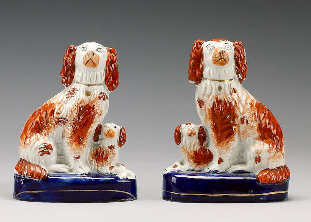 A pair of groups of spaniel and pups, mid 19th century,