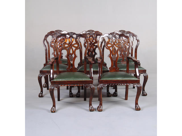 A set of eight George II style dining chairs
