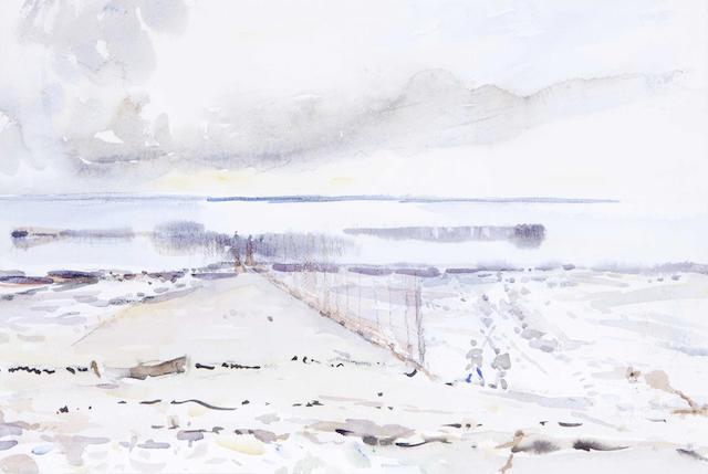 Robert Rule Solway stake nets Watercolour 33cm x 50cm