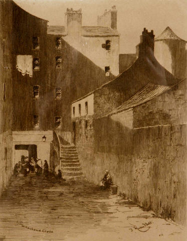 A set of three etchings of Edinburgh closes after J Munro Bell 23cm x 18cm  And a further pair of Edinburgh etchings, West Bow and Queen Mary's Bath House (5).