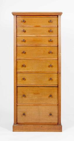 A late 19th Century mahogany Wellington chest,