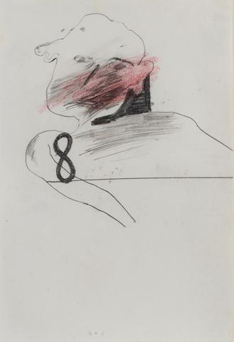 David Hockney Man & 8 Pencil and red crayon, 1960/61; 136 x 95mm (5 1/4 x 3 3/4in)(SH)