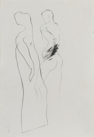 David Hockney Two figures Pencil drawing, 1961/2; 135 x 92mm (5 1/4 x 3 5/8in)(SH)