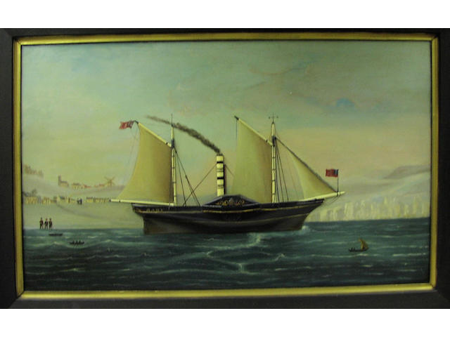 "A three dimensional ship portrait of the paddle steamer ""Mary"", 53.5 x 89cm."