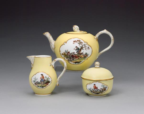 A Meissen part tea service, circa 1870-80