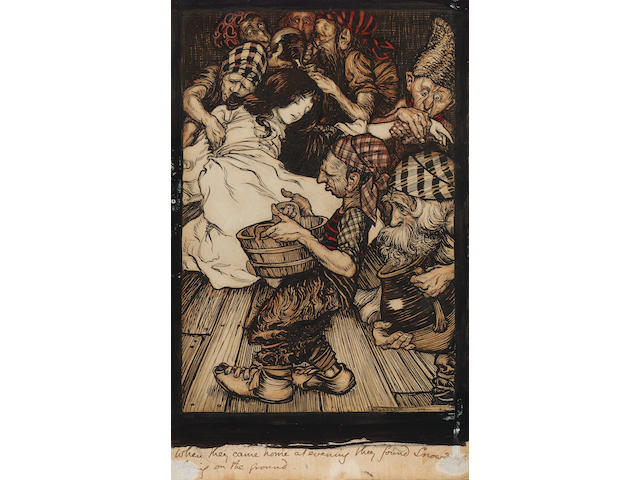 Arthur Rackham R.W.S. (British, 1867-1939) Snow White and the seven dwarfs 25 x 15.5 cm. (9 3/4 x 6 in.) unframed