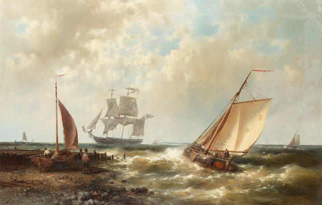 Abraham Hulk, Snr. (Dutch 1813-1897) Running out to meet the new arrival offshore 57.5 x 86.5 cm. (22 3/4 x 34 in.)
