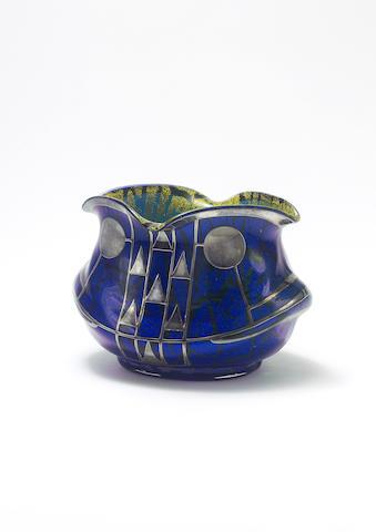 Loetz Vase globular with overlay