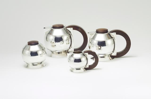Jean Émile Puiforcat A Silver and Brazilian Rosewood Tea Set, circa 1925