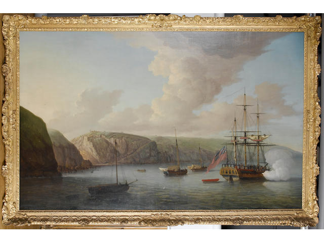Dominic Serres (British, 1722-1793) 'View of Lundy Island' 153.6 x 247cm. (60 1/2 x 97 1/4in.)