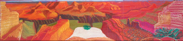 """David Hockney Composition pastel study for """"A Closer Grand Canyon"""" Coloured pastel on three sheet of purple paper, initialled and dated lower right """"DH 98"""" in yellow; 500 x 1940mm (19 3/4 x 76 1/2in)(sheets)"""