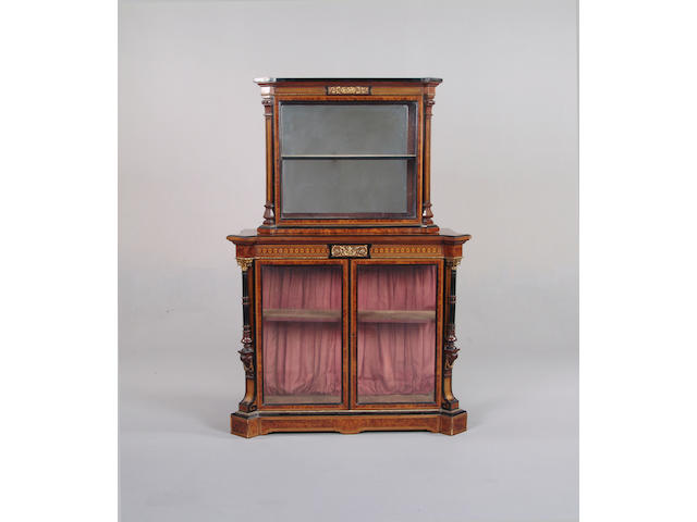 A Victorian walnut, ebonised, marquetry and gilt metal mounted display cabinet