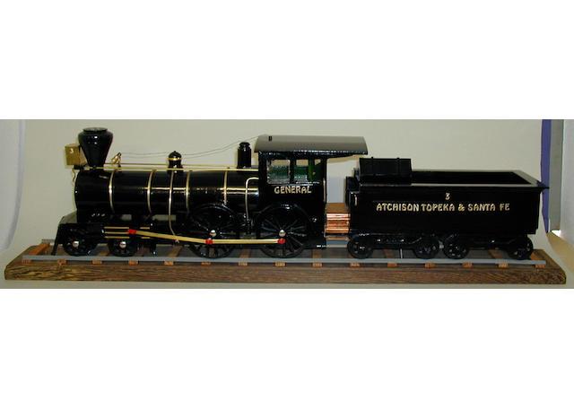 Scratch built wooden static model of US-outline 4-4-0 Atchison Topeka & Santa Fe locomotive General and tender