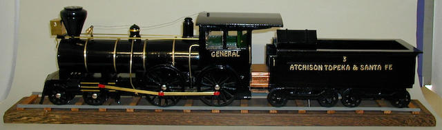 Scratch built wooden static model of US-outline 4-4-0 Atchison Topeka & Santa Fe locomotive General and tender