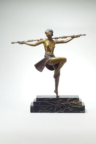 Pierre Le Faguays 'Dancer with Thyrsus' a Large Patinated Bronze Figure, circa 1925