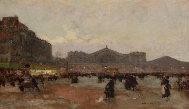 Luigi Loir (French 1845-1916) La gare de l'Est 27 x 46.5 cm. (10 1/2 x 18 1/4 in.)
