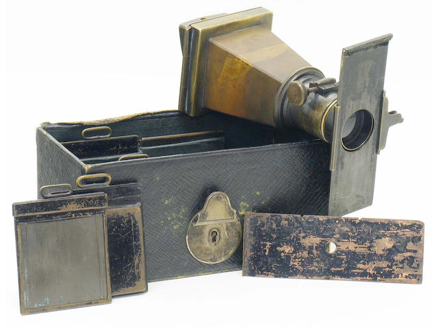 Marion's Metal camera, intro. c. 1884, 2 x 2inch (5 x 5cm) tapered metal body.