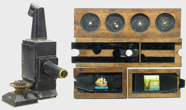 Magic lantern and slides, a Phantasmagoria type lantern with crooked chimney.