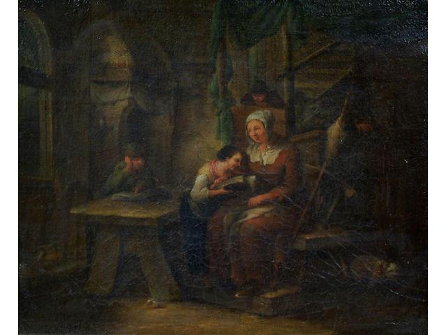 Flemish School (19th Century) 'A family in an interior', 18 x 22cm