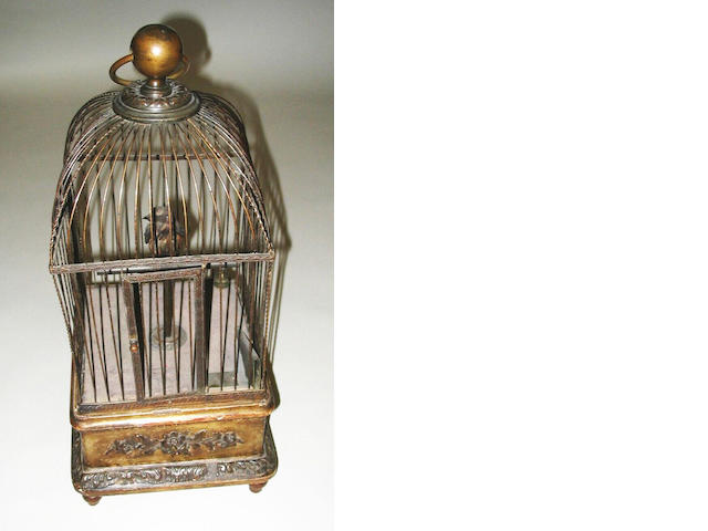 A singing bird-in-a-cage