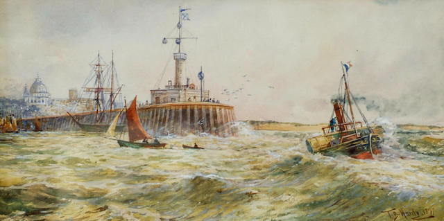 Follower of Thomas Bush Hardy 'Paddle steamer and other craft at a harbour mouth', 21 x 41cm