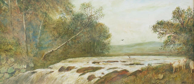 Frederick Hines (fl.1875-1897) 'A winter pool' 23 x 51cm