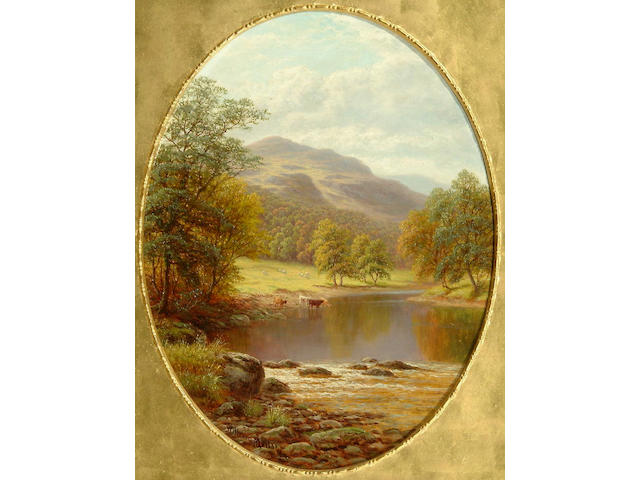 William Mellor (1851-1931) 'On the Wharfe, Yorkshire'; 'Rydal Lake, Westmoreland' each 34cm diameter, oval.